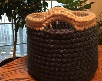 Crochet Basket Wedgewood Blue and Cream