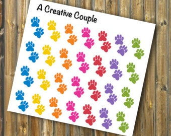 Rainbow Paw Print Stickers