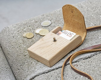 Wooden wallet with neck strap
