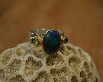 Silver and gold ring set with semi-precious stones