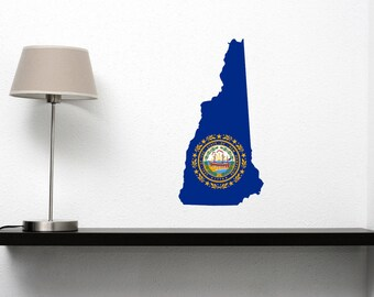 New Hampshire State Vinyl Wall Decal with the New Hampshire Flag in the Shape of the State of New Hampshire