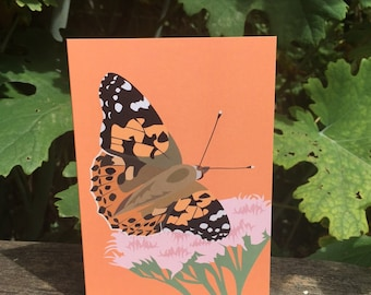 Painted Lady butterfly greeting card - blank inside