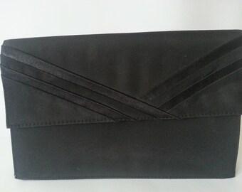SALE Black satin - Clutch bag - Saxone - Vintage