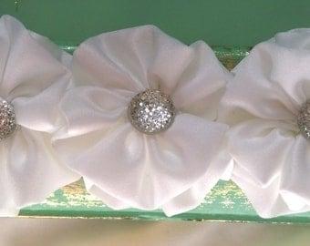 White Satin Flower baby and children's headband