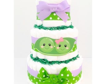 Diaper Cake - Twins Diaper Cake - Two Peas In A Pod Diaper Cake - Twins Baby Shower - Two Peas In A Pod Baby Shower