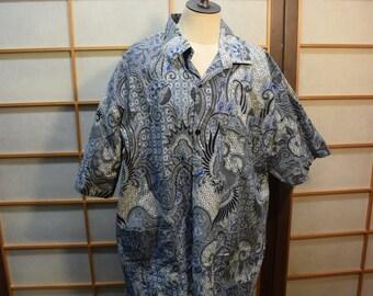 Ethnic Men  Cotton Batik Shirt  Blue Gray Black