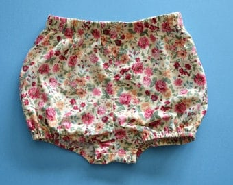 Baby girls vintage floral bloomer shorts, headwrap, vintage baby