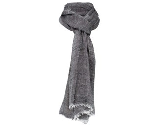 Grey Linen and cotton scarf