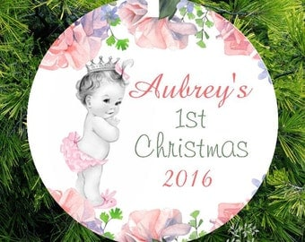 Personalized Vintage Baby Girl Princess First Christmas Ornament, Vintage Baby Glass Ornament by lovebirdschristmas