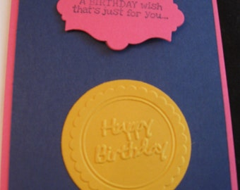 Set of 4 hand stamped pink  birthday cards