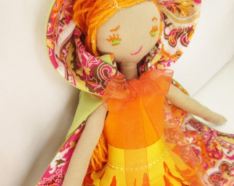 Marigold ragdoll, cloth doll, handmade rag doll, gifts for girls, orange, ooak dolls