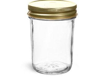 Mason and Jelly Jar Half Pint Jar with Lids, 8-ounce, Set of 12