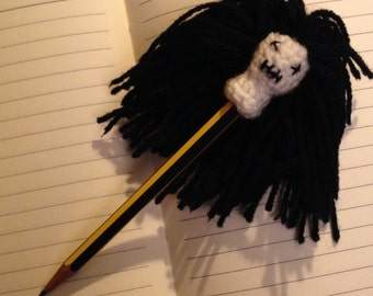 Crochet Zombie head pen/pencil topper. Halloween stationary for your little monsters