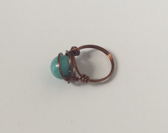 Copper Wire Wrapped Ring w/Turquoise Bead