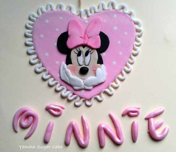 Minnie Mouse Fondant Edible 2D Cake topper Baby girl shower