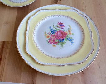 Vintage China Dinner & Salad Plates for Weddings,Tea Party,Bridal Luncheons,Showers,Hostess Gift,Bridesmaid Gift - Set of 4