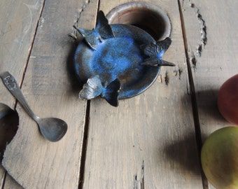 Blue stoneware Butterfly candle holder