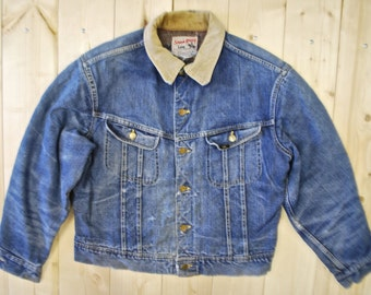 Vintage 1960's/70's LEE 101J Denim Blanket Lined Jean Jacket / UNION MADE In the U.S.A / Sanforized / Retro Collectable Rare
