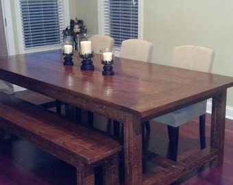 Farmhouse style table with bench - 8 ft.  Custom made with your choice of stain