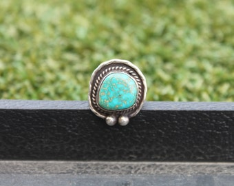 Vintage Navajo Turquoise Ring in Sterling Silver Size 4