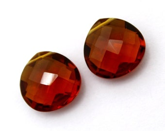 2 Pcs 1 Match Pair 14x14 mm Beer Quartz Faceted Heart Briolettes, Earring Pair, Jewelry Making BR162
