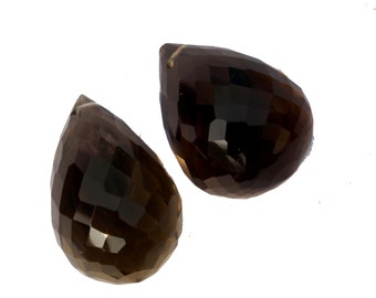 2 Pcs 1 Match Pair 20x14 mm Beer Quartz Faceted Teardrop Briolettes , Jewelry Making, Earring Pair , BR203