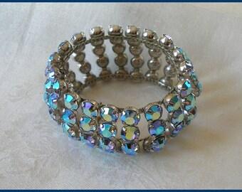 Vintage 1950s Blue Aurora Borealis Rhinestone Wide Bracelet/Cuff