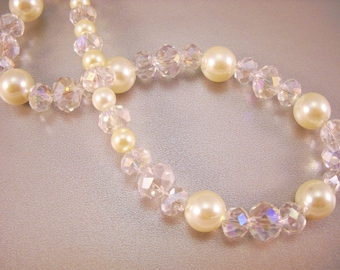 Faux Crystal, Faux Pearl, Gold Colored, Jewelry Set, Pearl Necklace, Crystal Necklace, Pearl Earrings, Crystal Earrings, Handmade Jewelry