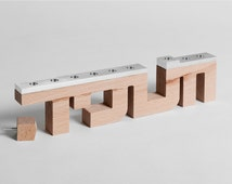 Beech Typography menorah made from wood and brushed aluminum