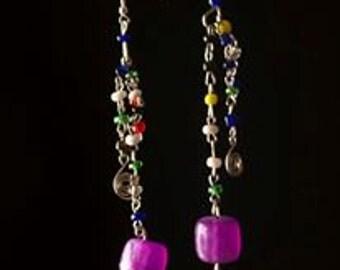 Assymetrical Chandelier Beaded Earrings