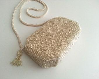 Inge Christopher Beaded White Evening Handbag with Tassle Shoulder Purse