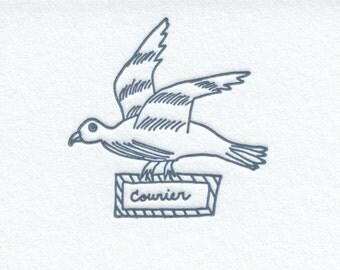 Letterpress Stationery Set - 7 Flat Cards w/ Carrier Pigeon Motif