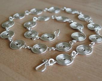 Silver Spiral Necklace in Fine Silver (closed) jewellery