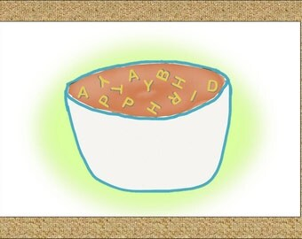Alphabet Soup Birthday Card: Downloadable