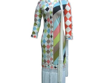 Flapper Style Fringed Pucci Dress and Scarf/Belt. 1960's.