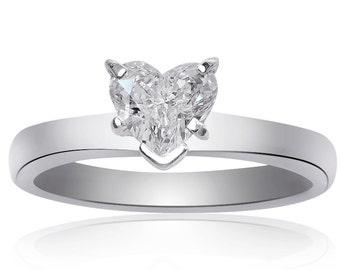 0.77 Carat F-VS1 Natural Heart Shape Diamond Engagement Ring Platinum