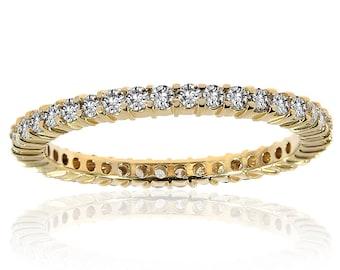 0.56 ctw Round Brilliant Diamond Eternity Wedding Band in 14K Yellow Gold