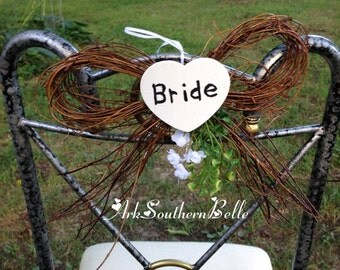 BRIDE & GROOM CHAIR Decorations, Grapevine Bow Wedding chair Decorations, Heart Bride and Groom chair signs, Rustic country wedding