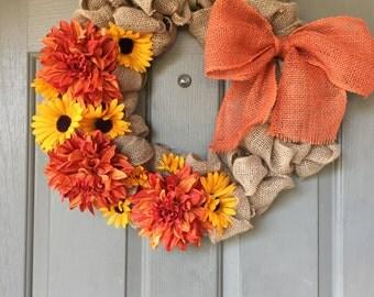 Orange dahlia& sunflower