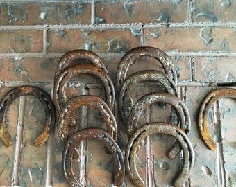 50 Rustic, Vintage, Used Horseshoes.