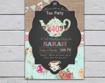 Adult Tea Party Invitation, High Tea Party invitation, 30th 40th 50th 60th, Printable, Adult Tea Party Birthday, adult birthday invitation