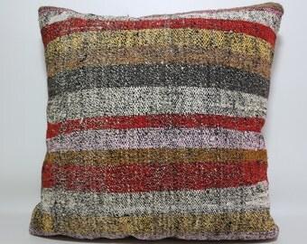 Striped kilim pillow 24x24 multicolor pillow large size bedding pillow turkish kilim pillow natural pillow handwoven kilim pillow SP6060-553