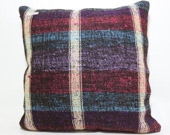 Striped kilim pillow Multicolour pillow 24x24 turkish kilim pillow cushion case boho pillow large size sofa pillow natural pillow SP6060-569