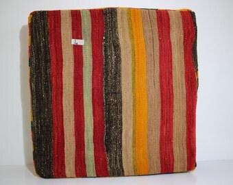 "24"" x 24"" x 6"" Floor Cushion Cover Turkish Kilim Pouf Large Size Kilim Puff Multicolor Stripe Kilim Puff Vintage Kilim Pillow Cover 4"