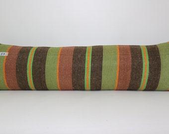 12x42 Vintage Rectangle Striped Turkish Kelim Kissen 12x42 Anatolia Kelim Kissen Boho Pillow SP30106-57