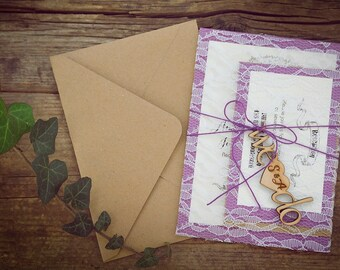 Rustic Wedding Invitation, Custom Wedding Invitation Suite, Rustic Lace Wedding Invitation, Vintage Lace Wedding Invitation, Set of 20