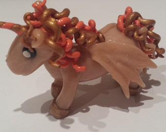 Unicorn miniature figurine made with polymer clay