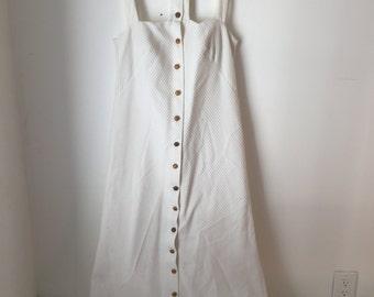 White long button dress