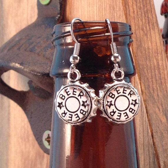 Beer bottle cap charm earrings dangle drop earrings beer for Beer cap jewelry