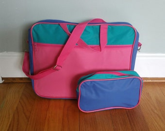 90's Color Block Crossbody Messenger / Laptop Bag with Matching Pouch